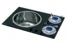 2 Hob complete with Sink - Glass  Finish