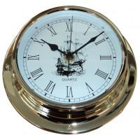 "Clock Classic Sailing Ship Brass (5"") 125mm Face"