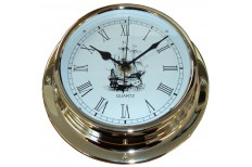 "Clock Classic Sailing Ship Brass (5"") 125mm Face"