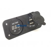 USB Double port Socket and Voltmeter Panel Mount