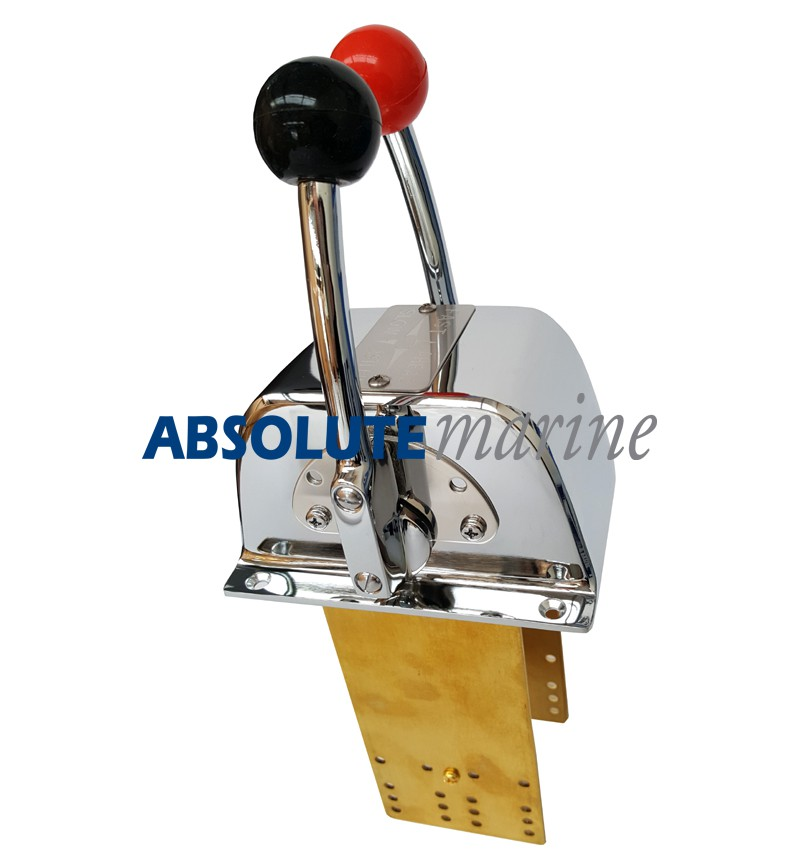 Mechanical Control Cable Levers : Twin engine control chromed brass absolute marine