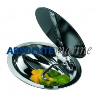 Motorhome Oval Sink with Folding Tap & Tempered Glass Lid