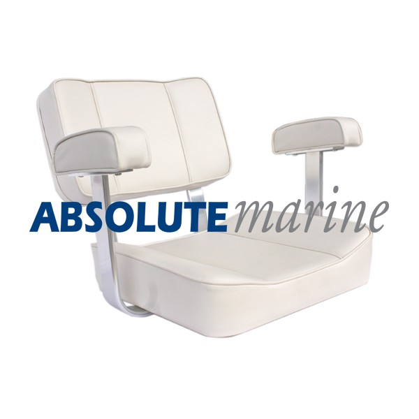 Captains Seat with Arm Rest -  White